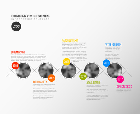 Vector Infographic Company Milestones Timeline Template with circle photo placeholders on colorful line 向量圖像