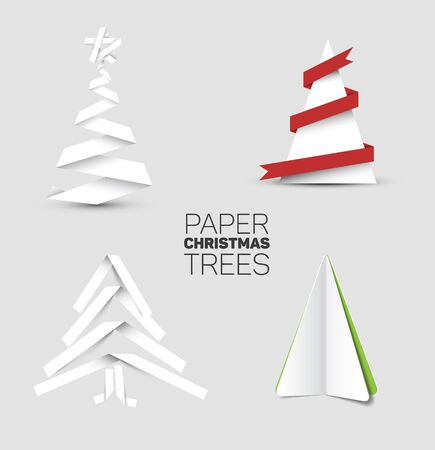 paper fold: Collection of four christmas trees made from white paper or white paper stripes