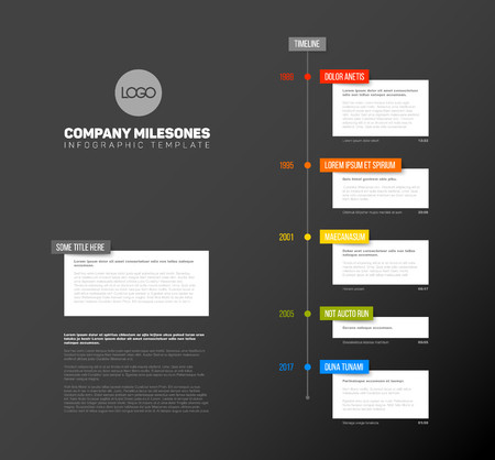 biggest: Vector Infographic  timeline report template with the biggest milestones,  years and description - dark timeline template version Illustration
