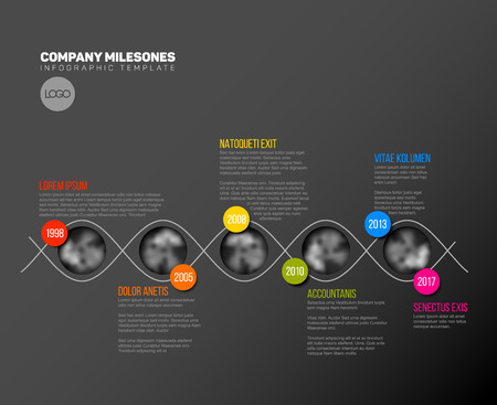 past: Vector Infographic Company Milestones Timeline Template with circle photo placeholders on colorful line - dark timeline version Illustration