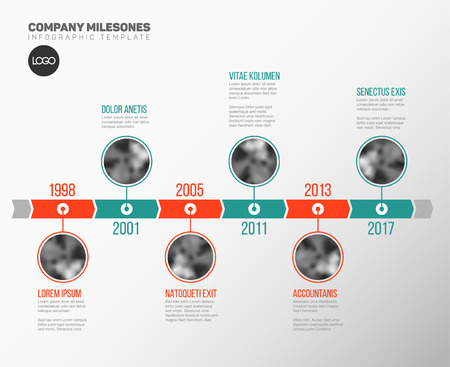 Vector Infographic Company Milestones Timeline Template with circle photo placeholders on dual color time line Ilustrace