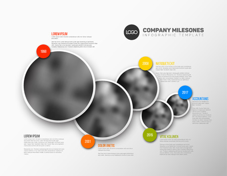 Vector Infographic Company Milestones Timeline Template with circle photo placeholders Ilustrace