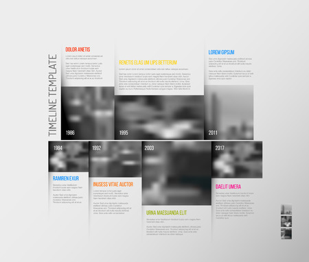 past: Vector Infographic Company Milestones Timeline Template with big rectangle photo placeholders and shadow effects Illustration
