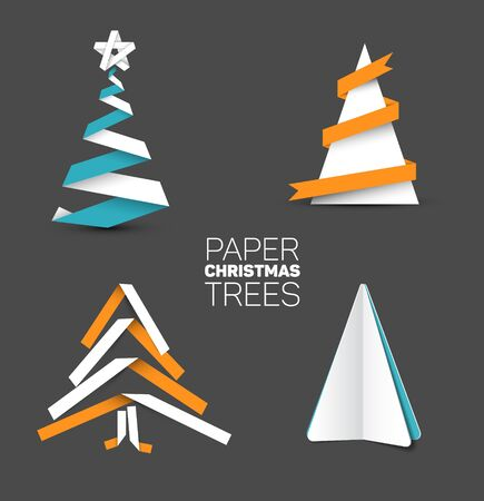 orange trees: Collection of four christmas trees made from white paper or white, blue and orange paper stripes on dark background Illustration
