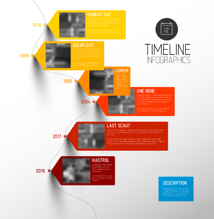 Vector colorful Infographic typographic timeline report template with the biggest milestones, photos, years and description - vertical version Illustration