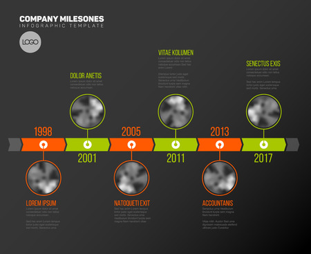 Milestones Vector Infographic Société Template Timeline avec le cercle photo placeholders sur la double couleur ligne de temps - version foncée