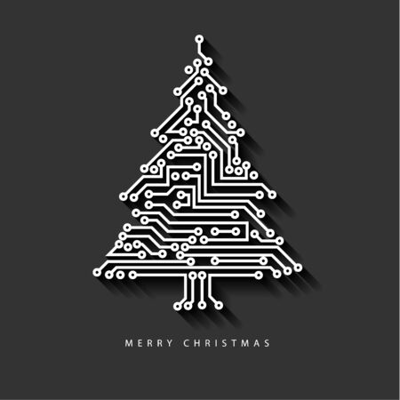 Vector christmas tree from digital electronic circuit on dark gray background with long shadow