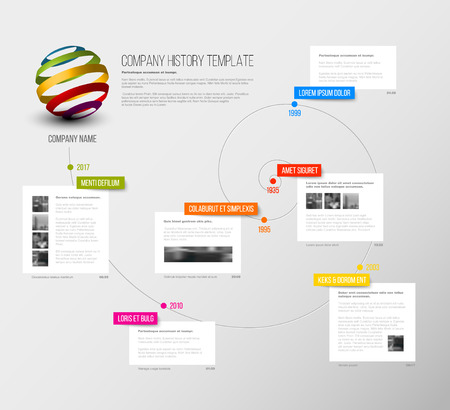 overview: Vector Company infographic overview design template with colorful labels and white blocks on a time spiral Illustration