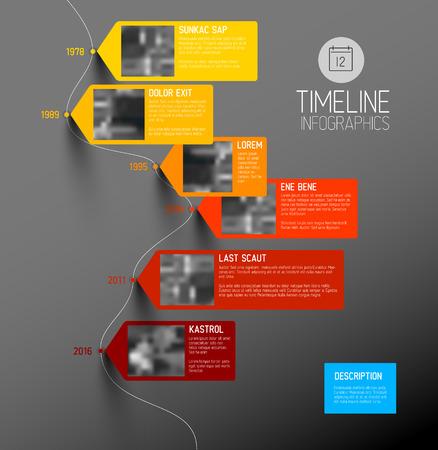 Vector colorido plantilla de informe de línea de tiempo tipográfica Infografía con los mayores hitos, fotos, años y descripción - versión oscura verticales