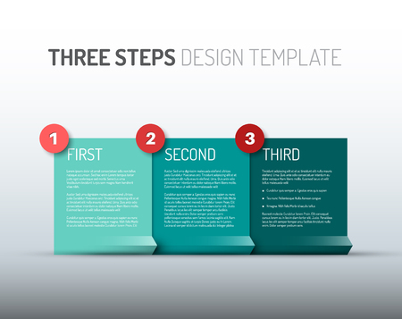 paper product: One two three - vector paper progress steps for your tutorial or three options of your product  service Illustration