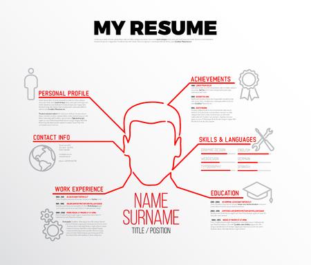 Vector original minimalist cv / resume template - creative version with big red avatar Stock Illustratie