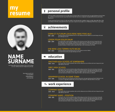 personal profile: Vector minimalist cv  resume template with nice typogrgaphy design - yellow and black version
