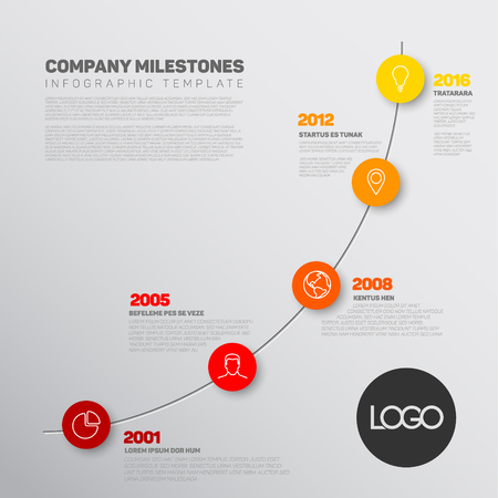 biggest: Vector Infographic timeline report template with the biggest milestones, icons, years and color buttons. Business company overview profile.