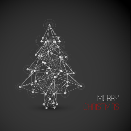 Vector card with abstract christmas tree made from lines and dots (low poly art) - dark version