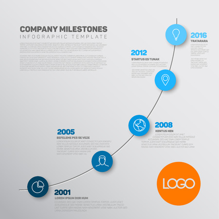 biggest: Vector Infographic timeline report template with the biggest milestones, icons, years and color buttons. Business company overview profile - blue version. Illustration