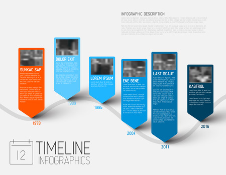 biggest: colorful Infographic typographic timeline report template with the biggest milestones, photos, years and description - blue version