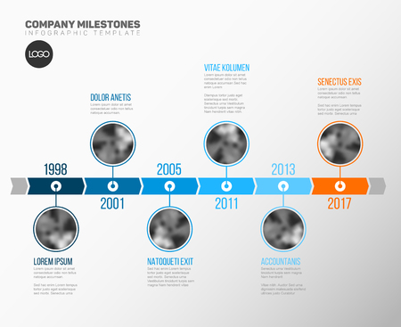 history month: Vector Infographic Company Milestones Timeline Template with circle photo placeholders on a blue time line Illustration