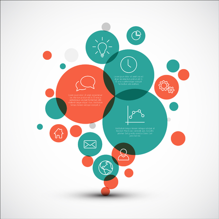 descriptive: Vector diagram with various descriptive circles - infographic template made from red and teal circles of various sizes and thin line icons