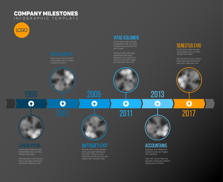 Vector Infographic Company Milestones Timeline Template with circle photo placeholders on a blue time line - dark version Vector Illustration