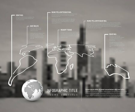 city light: Light World thin line map infographic template with pointer marks and blurred city photo in the background