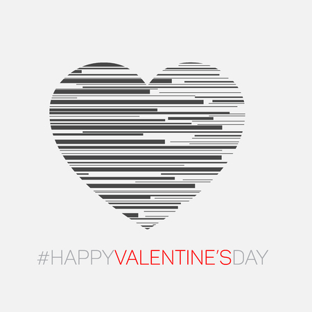 heart abstract: Minimalistic valentines card - Modern style vector heart illustration made from stripes