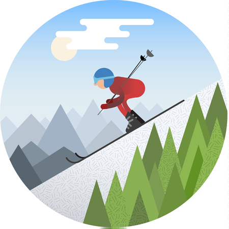 Flat design Skier sliding from the snowy hill in the winter vector illustration.