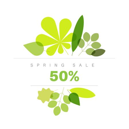 Spring abstract floral background made from minimalist fresh green leafs with place for your text