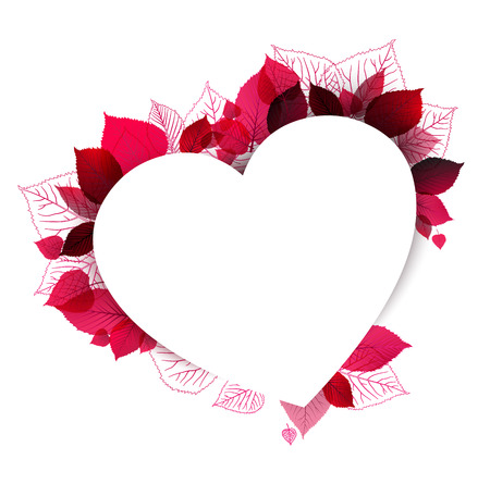 Pink abstract floral heart shape with place for your love text
