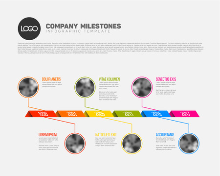 interval: Vector Infographic Company Milestones Timeline Template with photo placeholders on a curved road line Illustration