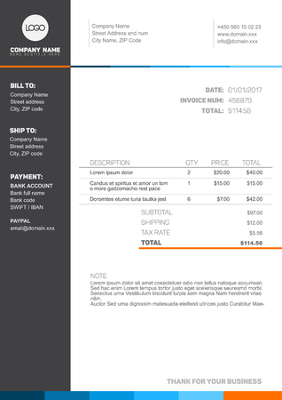 commerce: Vector minimalist invoice template design for your business  company