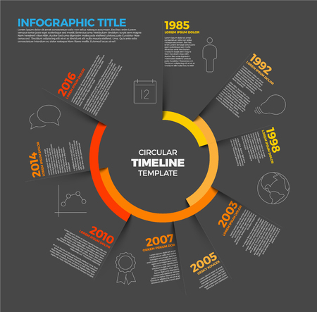 biggest: Vector Infographic circular timeline report template with the biggest milestones, icons, shadows and big colorful years labels - dark version