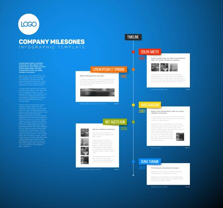 Vector Infographic timeline report template with the biggest milestones, years and description on a blue background