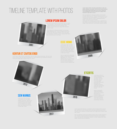 placeholder: Vector Infographic Company Milestones Timeline Template with photo placeholders as snapshots
