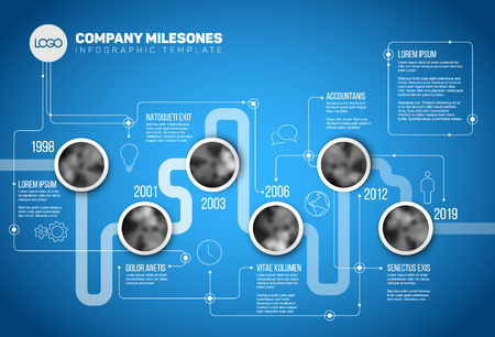 Vector Infographic Company Milestones Timeline Template with circle photo placeholders on a line - blue version