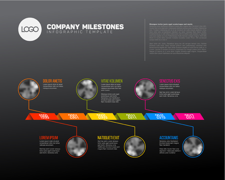 past: Vector Infographic Company Milestones Timeline Template with photo placeholders on a curved road line - dark version