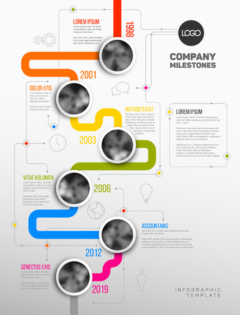 version: Vector Infographic Company Milestones Timeline Template with circle photo placeholders on colorful line - vertical version Illustration