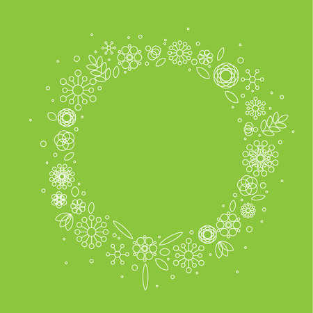 Minimalist floral circle frame made from simple flowers from basic shapes Illustration