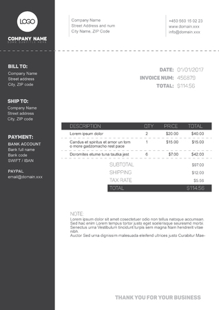 Vector Minimalist Invoice Template Design For Your Business - Black invoice template