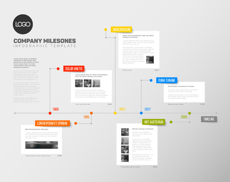 biggest: Vector Infographic timeline report template with the biggest milestones, years and description Illustration