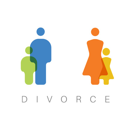Vector simple divorce concept illustration