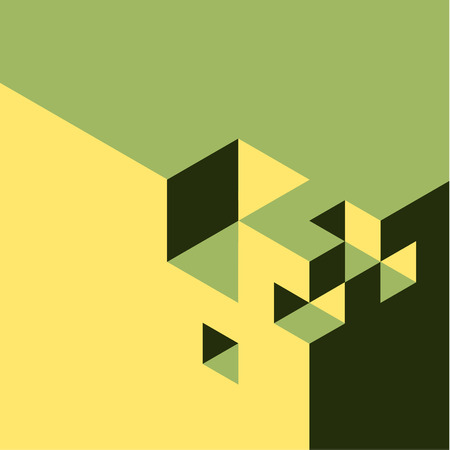 isometry: Green and yellow vector abstract isometry background made from cubes