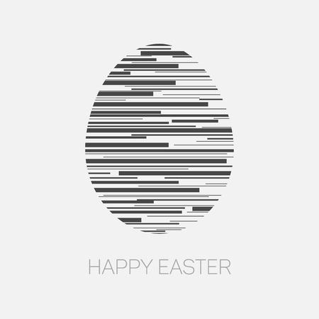 osterei: Moderne minimalistische glückliche Ostern-Karte mit Ei aus Linien Illustration