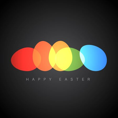 Modern minimalist colorful happy easter card with color eggs - dark version