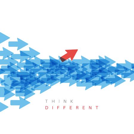 個性概念ベクトル イラスト - 1 つの矢印が違う方向を指しています。