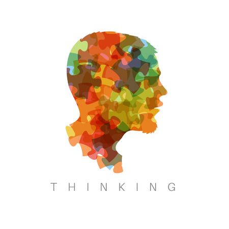 Vector ilustración concepto de pensamiento - la cabeza de piezas de un rompecabezas de colores
