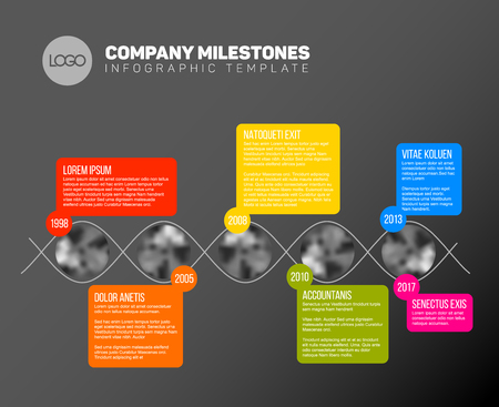 biggest: Vector Infographic timeline report template with the biggest milestones, icons, years and color buttons - dark version