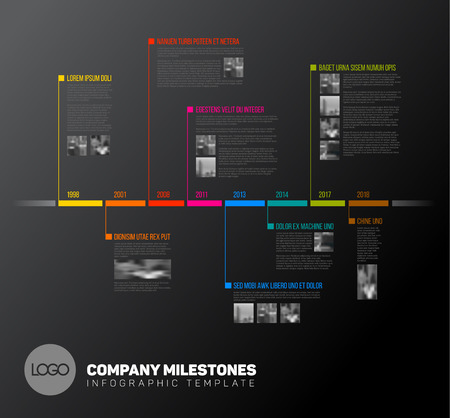 Vector Infographic timeline report template with the biggest milestones, icons, years and color buttons - dark version