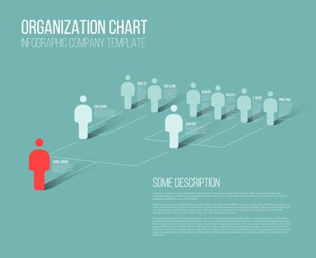 미니멀 회사의 조직 계층 3D 차트 템플릿 일러스트