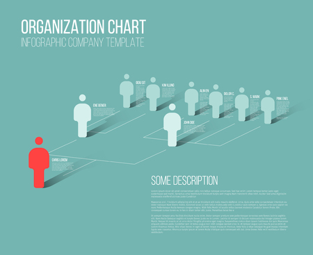 Minimalist company organization hierarchy 3d chart template