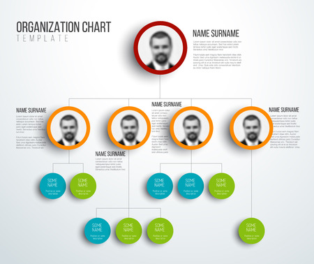structure: Minimalist organization hierarchy chart template - light version with photos Illustration